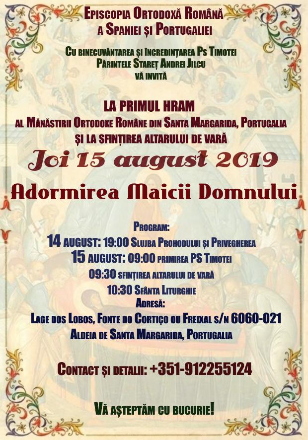 Invitație la primul hram al mănăstirii ortodoxe române din Aldeia de Santa Margarida – Portugalia